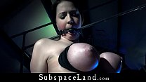 Big boobs slave dildo penetrated and than hot w...