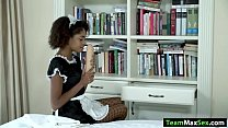 Busty ebony Luna gets toyed and fucked