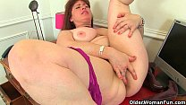 British milf Janey and Leia finger their mature pussy