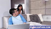 Asian beauty Ember Snow makes big cock cum hard with mouth
