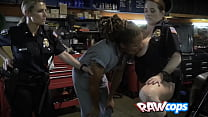 Dude with dreadlocks gets his cock pleasured by horny female cops porn thumbnail