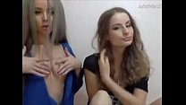 Blonde babes lick each other on webcam - AdultW...