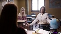Watch this lesbian professor Kendra James as she started a 3some with her student Mackenzie Moss and her mom in exchange for not expelling in school.