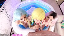 4K 4some in the pool Anal 3 girls teen purple bitch image