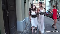 Slaves in white dresses fucking in public Thumbnail