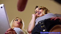 Beautiful blonde duo fuck a gardener together Thumbnail