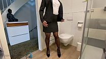 Slut In Business Suit Stuffing Panty In Pussy