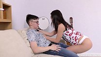 Horny brunette teen fucks a nerd Preview