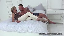 Hot MILF Sonia's husband lets her suck cock with a stranger