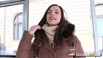 Beautiful Spanish Nekane gets a cumshot on her big ass in the public