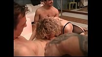 Perverted MILF fucked by a group preview image