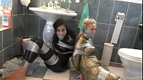Two Catsuit Agents Captured Tied Up And Gaged