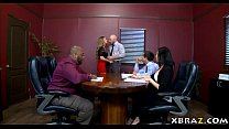 Big boobs MILF boss has her employee fuck her in the office preview image