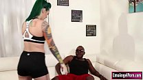 Tattooed babe throats and analed by bbc