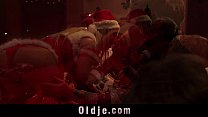Orgy for Christmas sexy girl Nesty gangbang fucking 8 old men Vorschaubild