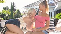 Dirty hot lesbians Peneloppe Ferre and Christina Shine fuck a double dong