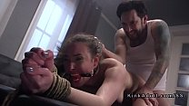 Tied up slave gagged and anal fucked