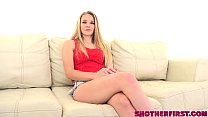 Blond teen Scarlett Fall interviewed before 1st casting POV thumbnail