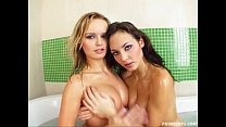 Prime Cups Natural D cup cuties get all wet in the bath