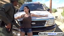 Sexy Latina is arrested and drilled by a big black cock at the border