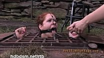 A cute redhead slave gets covered with mud and piss outdoor Vorschaubild