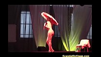 busty burlesque show on public stage