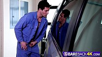 Bareback anal with gay teens in the garage while working