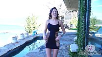 Perfect girl fucks her pussy outdoors with whipped glass dildo - hot solo