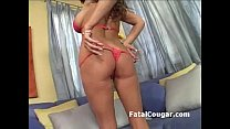 Huge boobs MILF in lingerie stripteases and plays with her tits and pussy thumbnail