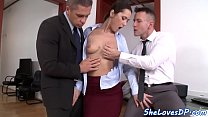 Doublepenetrated euro beauty gets jizzed on