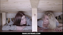 Two Teen Stepsisters Missy Luv And Mia Evans Fucked By Stepbrother While Stuck Under Bed
