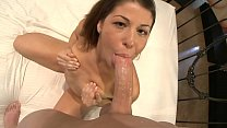 Small titted pretty girl Mia Gold throats cock and then rides it like a cowgirl preview image