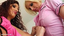 Leona and Nora shares a load of cum after hardcore sex on Sperm Swap