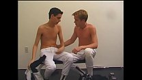 Blonde and brunette baseball studs suck each other's cocks and pound ass