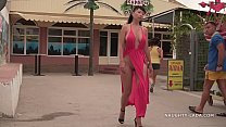 My red dress is perfect to flashing in public