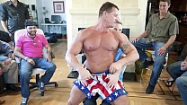 GAYWIRE - Muscle Hunk Male Stripper Slings His Dick Around At A Birthday Party