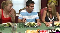 Busty stepmom Kristal Summers threesome with te...