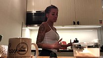 Perfect Pokies on the Kitchen Cam, Braless Sylvia and her Amazing Nipples