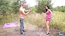 MyFirstPublic Skinny brunette learn how to fuck outdoors with older stranger