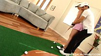 Beautiful busty babe gets fucked hard after her golf lessons
