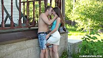 Beauty teen Evelina getting pounded outdoors Thumbnail