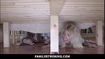 Two Teen Step Sisters Threesome With Step Brother While Stuck Under Bed thumbnail