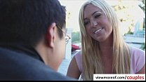 Teen pornstar gets laid by mature couple thumbnail