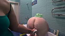 Lesbian washed and fucked a mature bbw in the bathroom. Milf shakes a big soapy booty doggystyle. Preview