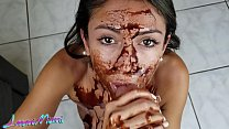 Perfect Latina Blowjob With Chocolate Syrup