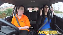 Fake Driving School Jailbird with big tits tastes examiners shaven pussy Image