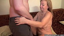 Mom's old body craves toy boy's cum Image
