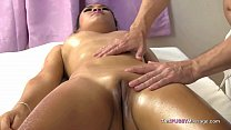 Slick Asian body rubbed and fucked on massage table