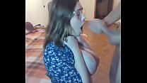 Teen with glasses gets huge facial on webcam #1...