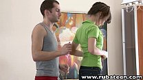 RubATeen Tall Euro teen Aliya rubbed fucked fac...